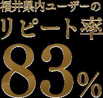 福井県内ユーザーのリピート率 83%